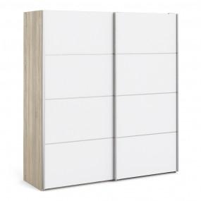 Verona Sliding Wardrobe 180cm in Oak with White Doors with 2 Shelves