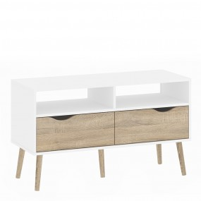 Oslo TV Unit 2 Drawers in White and Oak