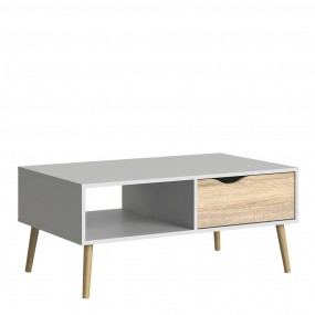 Oslo Coffee Table 1 Drawer 1 Shelf in White and Oak FSC Mix 70 % NC-COC-060652