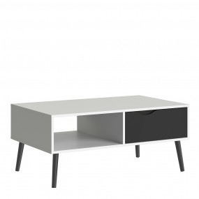 Oslo Coffee Table 1 Drawer 1 Shelf in White and Black Matt FSC Mix 70 % NC-COC-060652