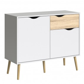 Oslo Sideboard - Small - 1 Drawer 2 Doors in White and Oak