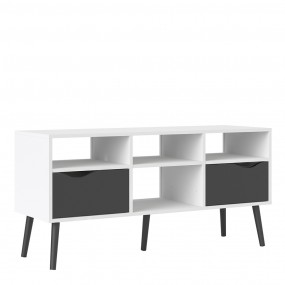 Oslo TV Unit - Wide - 2 Drawers 4 Shelves in White and Black Matt FSC Mix 70 % NC-COC-060652