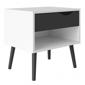 Oslo Bedside 1 Drawer in White and Black Matt