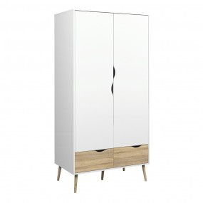 Oslo Wardrobe 2 Doors 2 Drawers in White and Oak FSC Mix 70 % NC-COC-060652