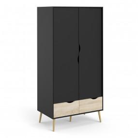 Oslo Wardrobe - 2 Doors 2 Drawers in Black and Oak