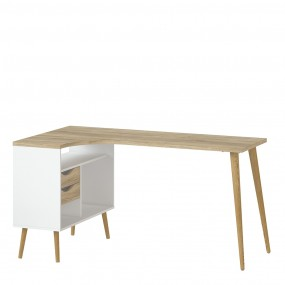 Oslo Desk 2 Drawer in White and Oak FSC Mix 70 % NC-COC-060652