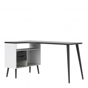 Oslo Desk 2 Drawer in White and Black Matt FSC Mix 70 % NC-COC-060652