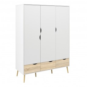 Oslo Wardrobe 3 Doors 3 Drawers in White and Oak