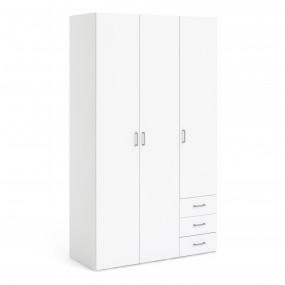 Space Wardrobe - 3 Doors 3 Drawers in White 2000