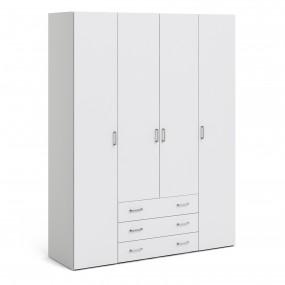 Space Wardrobe - 4 Doors 3 Drawers in White 2000