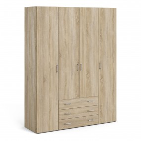 Space Wardrobe - 4 Doors 3 Drawers in Oak 2000