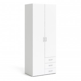 Space Wardrobe - 2 Doors 3 Drawers in White 2000