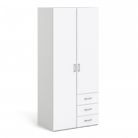 Space Wardrobe with 2 doors + 3 drawers White 1750