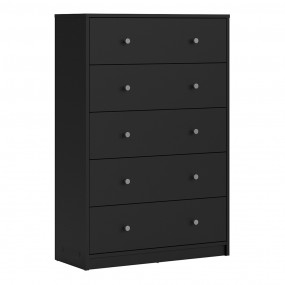 May Chest of 5 Drawers in Black