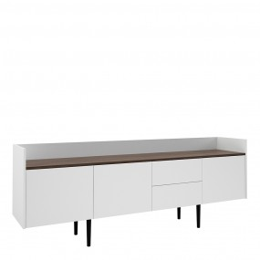 Unit Sideboard 2 Drawers 3 Doors in White and Walnut
