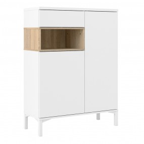Roomers Sideboard 2 Door 1 Drawer in White and Oak