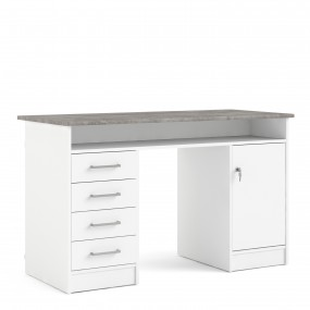 Function Plus Desk 4 Drawer 1 Door in White and Grey