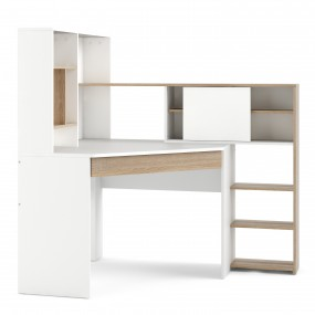 Function Plus Corner Desk with multi-functional unit In White and Oak