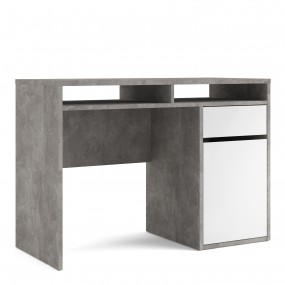 Function Plus Desk 1 Door 1 Drawer in White and Grey