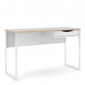 Function Plus Desk 1 Drawer Wide in White with Oak Trim