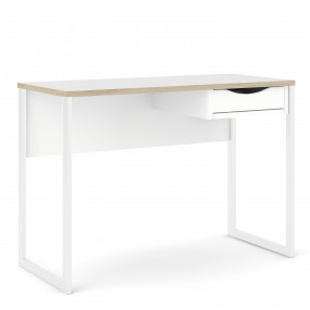 Function Plus Desk 1 Drawer in White with Oak Trim