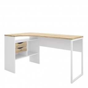 Function Plus Corner Desk 2 Drawers in White and Oak FSC Mix 70 % NC-COC-060652