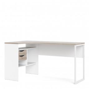 Function Plus Corner Desk 2 Drawers in White and Truffle Oak