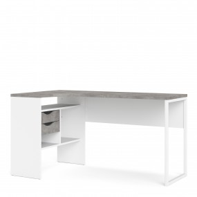 Function Plus Corner Desk 2 Drawers in White and Grey