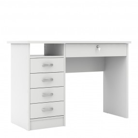 Function Plus Desk 5 Drawers in White
