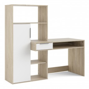 Function Plus Desk multi-functional Desk with Drawer and 1 Door in White and Oak