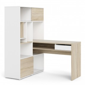 Function Plus Desk with multi-functional storage unit In White and Oak