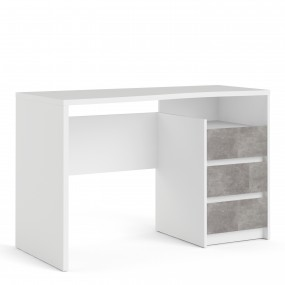 Function Plus Desk 3 Drawers in White and Grey
