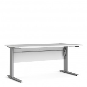 Prima Desk 150 cm in White with Height adjustable legs with electric control in Silver grey steel