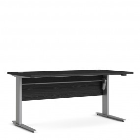 Prima Desk 150 cm in Black woodgrain with Height adjustable legs with electric control in Silver grey steel