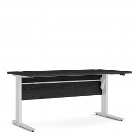 Prima Desk 150 cm in Black woodgrain with Height adjustable legs with electric control in White