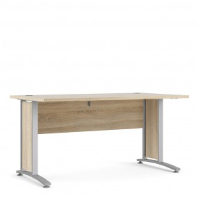 Prima Desk 150 cm in Oak with Silver grey steel legs