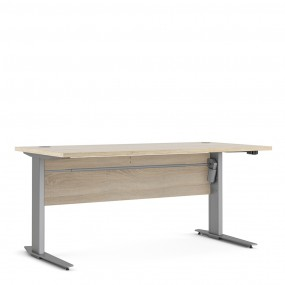 Prima Desk 150 cm in Oak with Height adjustable legs with electric control in Silver grey steel