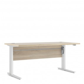 Prima Desk 150 cm in Oak with Height adjustable legs with electric control in White