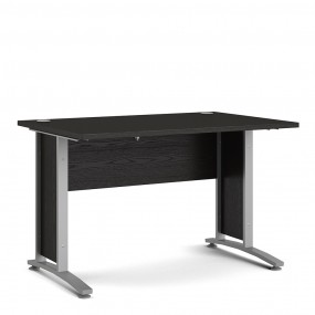 Prima Desk 120 cm in Black woodgrain with Silver grey steel legs