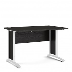 Prima Desk 120 cm in Black woodgrain with White legs