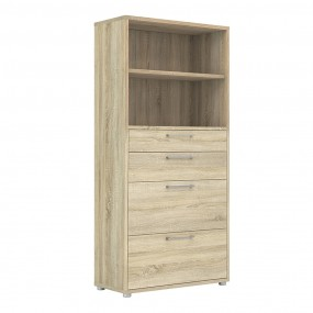 Prima Bookcase 4 Shelves with 2 Drawers + 2 File Drawers in Oak