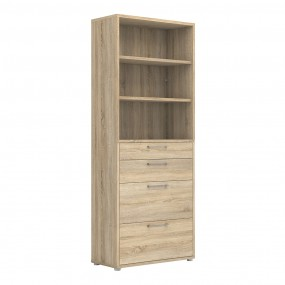 Prima Bookcase 2 Shelves With 2 Drawers + 2 File Drawers In Oak