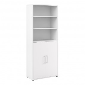 Prima Bookcase 4 Shelves with 2 Doors in White