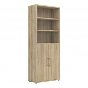 Prima Bookcase 5 Shelves with 2 Doors in Oak