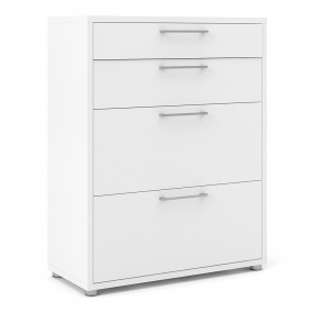 Prima Bookcase 2 Shelves with 2 Drawers + 2 File Drawers in White