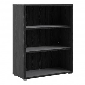 Prima Bookcase 2 Shelves in Black woodgrain