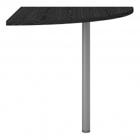 Prima Corner desk top in Black woodgrain with Silver grey steel legs