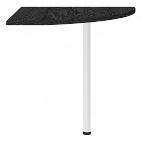 Prima Corner desk top in Black woodgrain with White legs