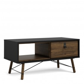 Ry Coffee table with 1 drawer in Matt Black Walnut