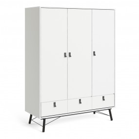 Ry Wardrobe 3 doors + 3 drawers in Matt White